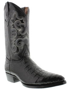 Mens Black Cowboy Boots Real Leather Embossed Crocodile Belly Western  J Toe