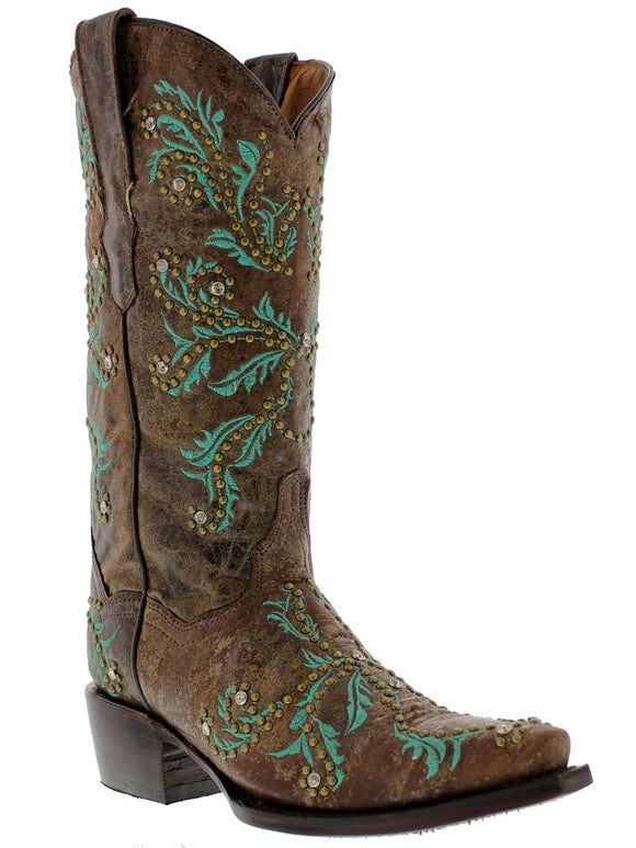 Brown Genuine Cowhide Leather Cowboy Boots Embroidery Rodeo Dress Point Toe