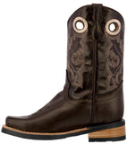 Kids Unisex Real Leather Western Boots Smooth Dark Brown Square Toe Pull Botas
