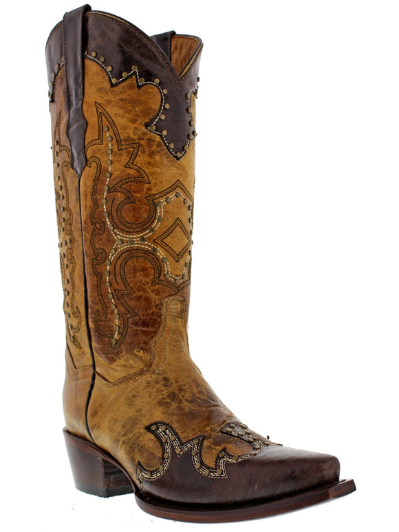 Womens Sand Studded Cowgirl Leather Western Boots Distressed Snip Toe