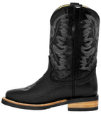Kids Unisex Genuine Leather Cowboy Boots Solid Classic Black Square Toe Botas