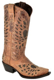 Womens Cognac Angel Wing Peace Heart Boots Inlay Leather Western Cowboy Snip Toe