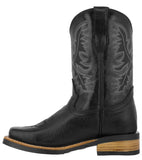 Kids Toddler Western Cowboy Boots Smooth Square Toe Black - #110