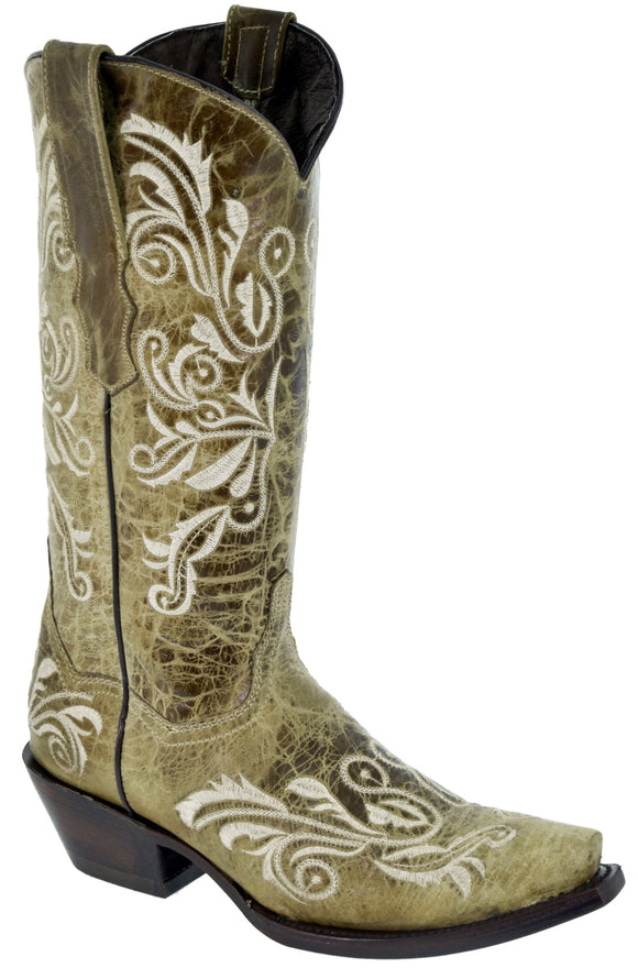 Womens Tan Cowboy Boots Swan Embroidered Western Wedding Rodeo Snip Toe