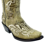 Texas Legacy - Womens Sand Cowboy Boots Swan Embroidered Western Wedding Rodeo Snip Toe