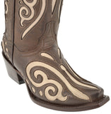 Womens Brown Leather Western Cowboy Boots Sand Butterfly Inlay Botas Snip Toe