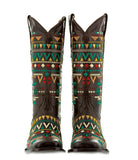 Mens Alligator Hornback Pattern Cowboy Boots Real Leather Round Black Size 13.5