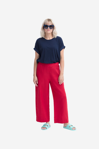 Hallvi French Linen Loose Fit Pant Model Front | SCARLET