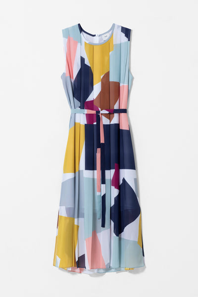 Collage Pleated Printed Tank Dress Belted Front COLLAGE PRINT