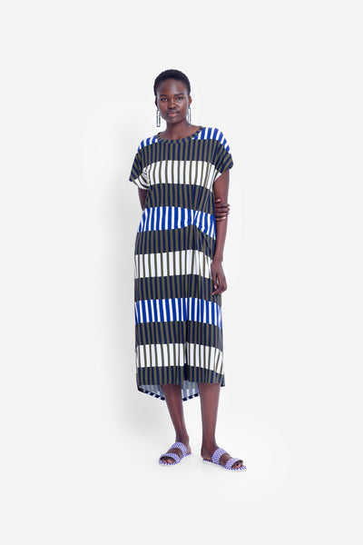 Valby Printed T-Shirt Dress Model Front | OLIVE STRIPE MIX