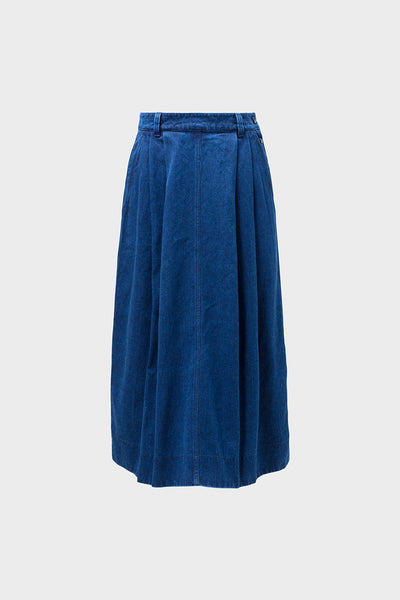 Karee Mid Length Denim Skirt Front DENIM