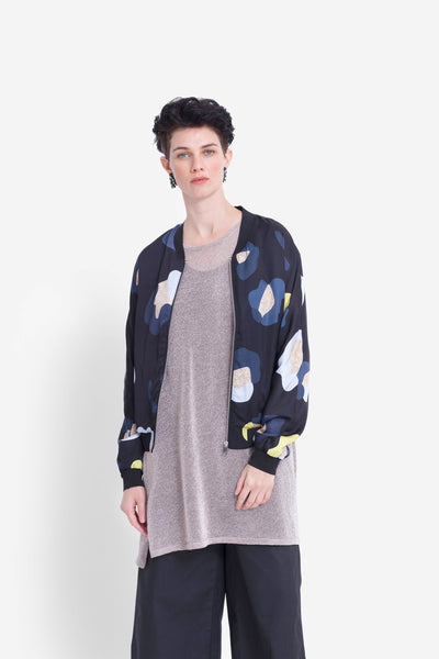 Poppy Print Lightweight Jacket Model Front