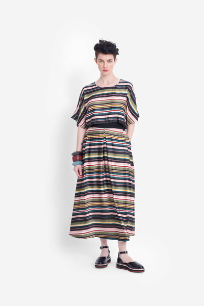 Anitra Bright Stripe Midi Skirt Model Front BRIGHT STRIPE
