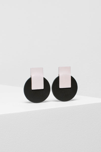 Anni Recycled Leather Earrings NUDE OLIVE