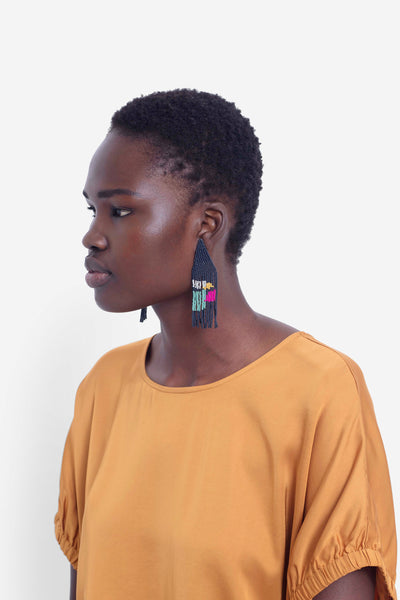 Malou Beaded Earrings Model NAVY