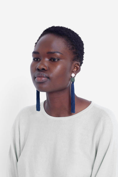 Mai Tassel Earring Model Front NAVY
