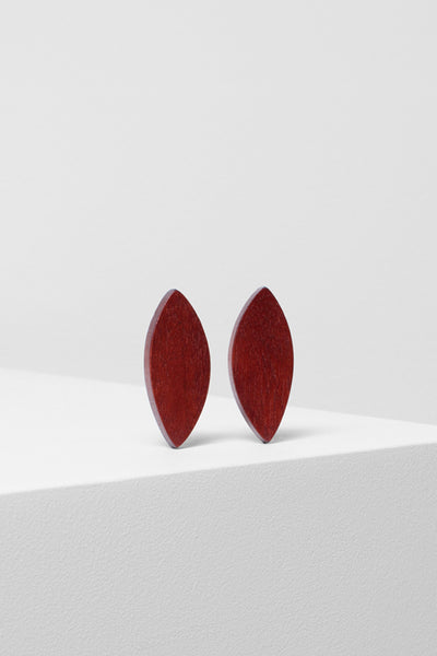 Leaf Geometric Timber Earring Front RUST
