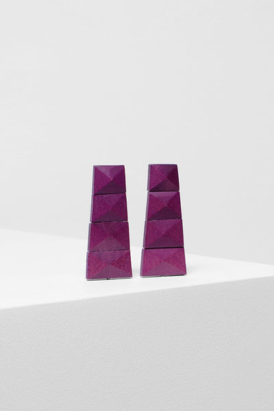 Malena Bright Coloured Artisan Wood Earrings Front BOYSENBERRY