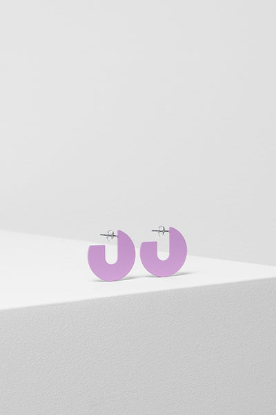Ailani Bright Round Earring Side Angled LAVENDER