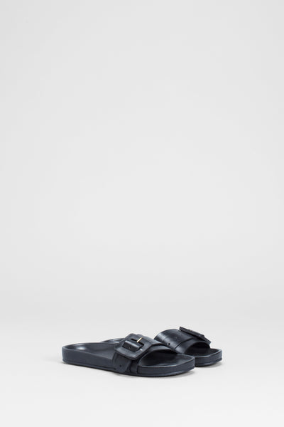 Runa Leather Sandal Slide Front | BLACK