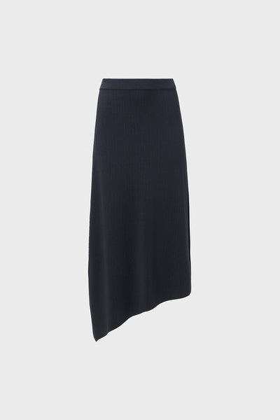 Jarl Textured Rib Knit Mid Length Skirt Front BLACK