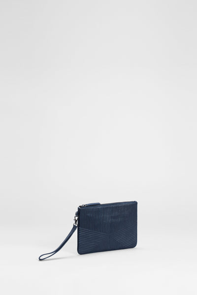 Jaana Leather Quilt Detailed Clutch Side Angled | Navy