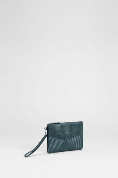 Jaana Leather Quilt Detailed Clutch Front Angled | Forest