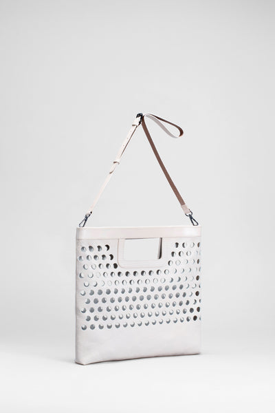 Barta Large Leather Bag Front | BLANC
