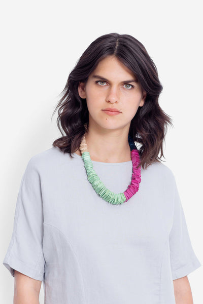 Poste Short Layered Beading Multi-Coloured Necklace Model Front Birch / Apple / Cranverry / Teal