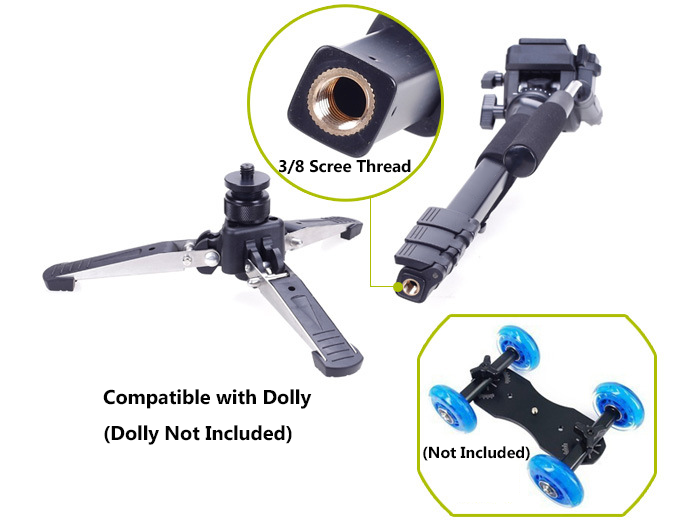 Hydraulic damping gimbal+Aluminum 4 Section Flip-Lock Video Monopod Kit