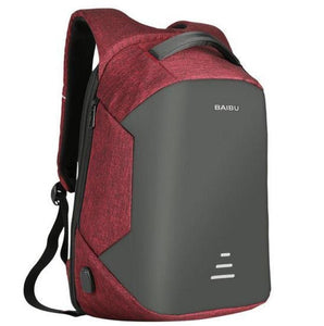 Anti Theft Laptop Backpack Usb Charging Port Red / China