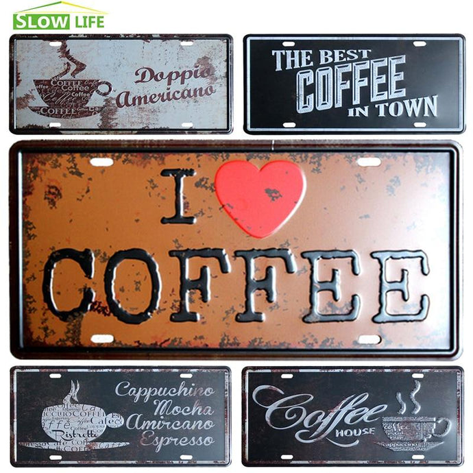 Coffee Vintage License Plate