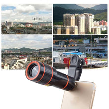 Load image into Gallery viewer, Clip-on 12x Optical Zoom Mobile Phone Telescope Lens