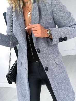 Slim Fit Monopetto Rever Media Lunghezza Cappotto