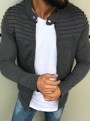 Cardigan Colore Puro Pieghe Slim Fit Zipper Felpa