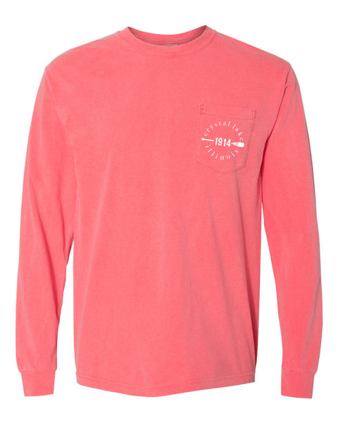 IN STOCK NOW! - Lake Life Paddle Long Sleeve Pocket Tee - watermelon