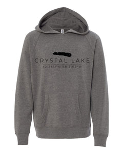 IN STOCK NOW! - Lake Life Crystal Lake Coordinates Special Blend Raglan Hoodie - nickel