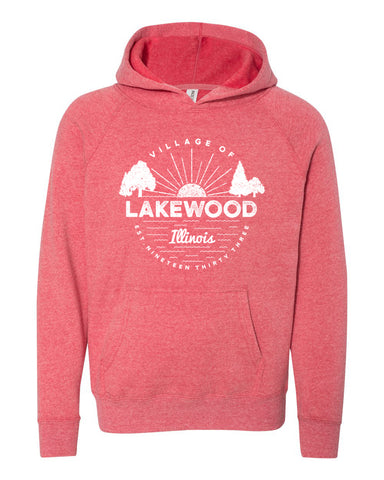 IN STOCK NOW! - Lake Life Lakewood Sunset Special Blend Raglan Hoodie - pomegranate
