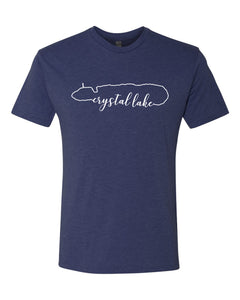 IN STOCK NOW! - Lake Life Crystal Lake Triblend Tee-vintage navy