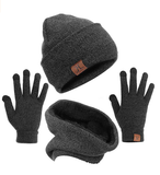 mysuntown Winter Hat Beanie Scarf Gloves 1-3 Pieces