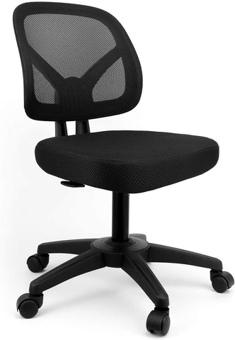 mysuntown Ergonomic Office Chair Mid-Back Desk Chair-Works Drafting Chair Mesh Support Task Computer Chair Without Arms-Home Office Chair Desk Swivel Adjustable Chair in Black