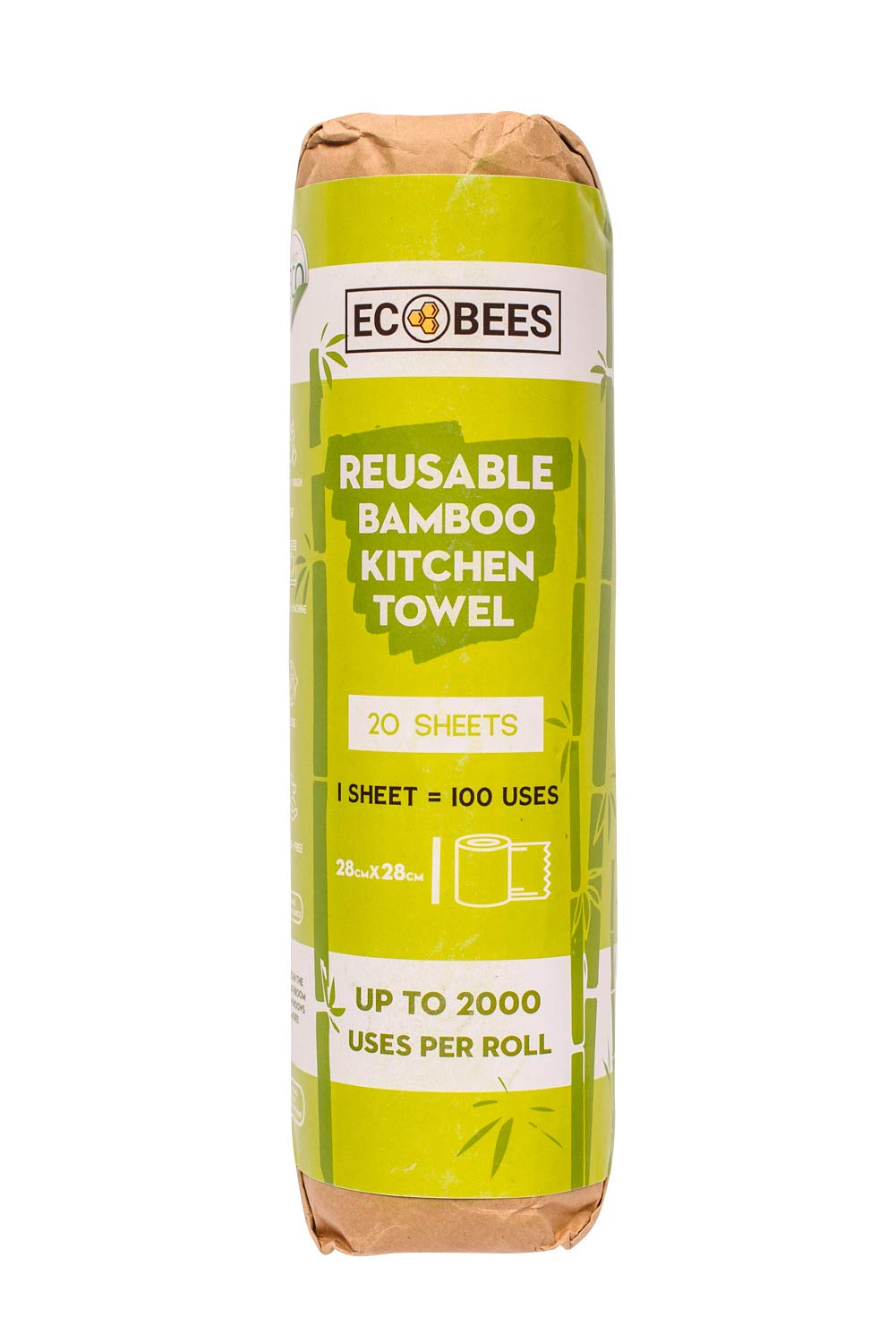 Eco-Bees Friendly Sustainable Environment Reusable Bamboo Kitchen Roll alternative Bulk x10 Rolls