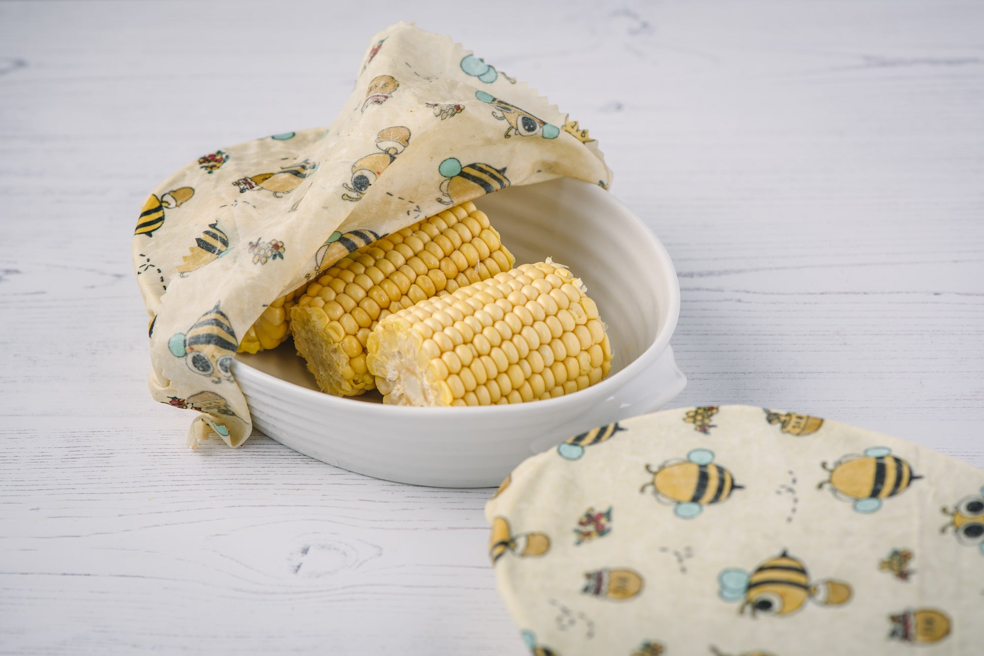 Eco-Bees Beeswax Cling Film Alternative Food Wrap - Bee Design (Variety Pack x3)