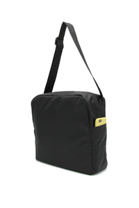 Clear messenger bag with black nylon sleeve