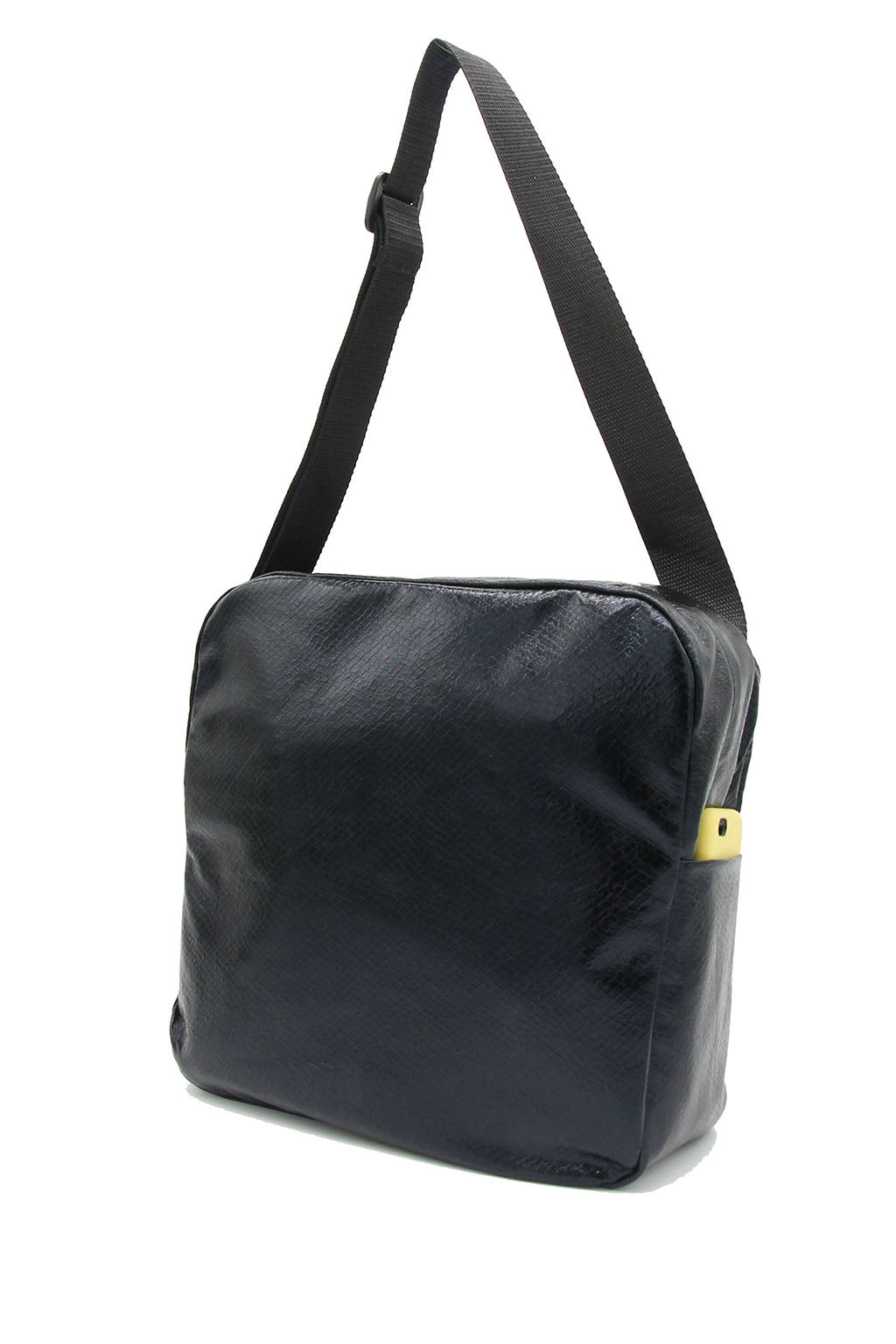 Clear messenger bag with black faux leather sleeve
