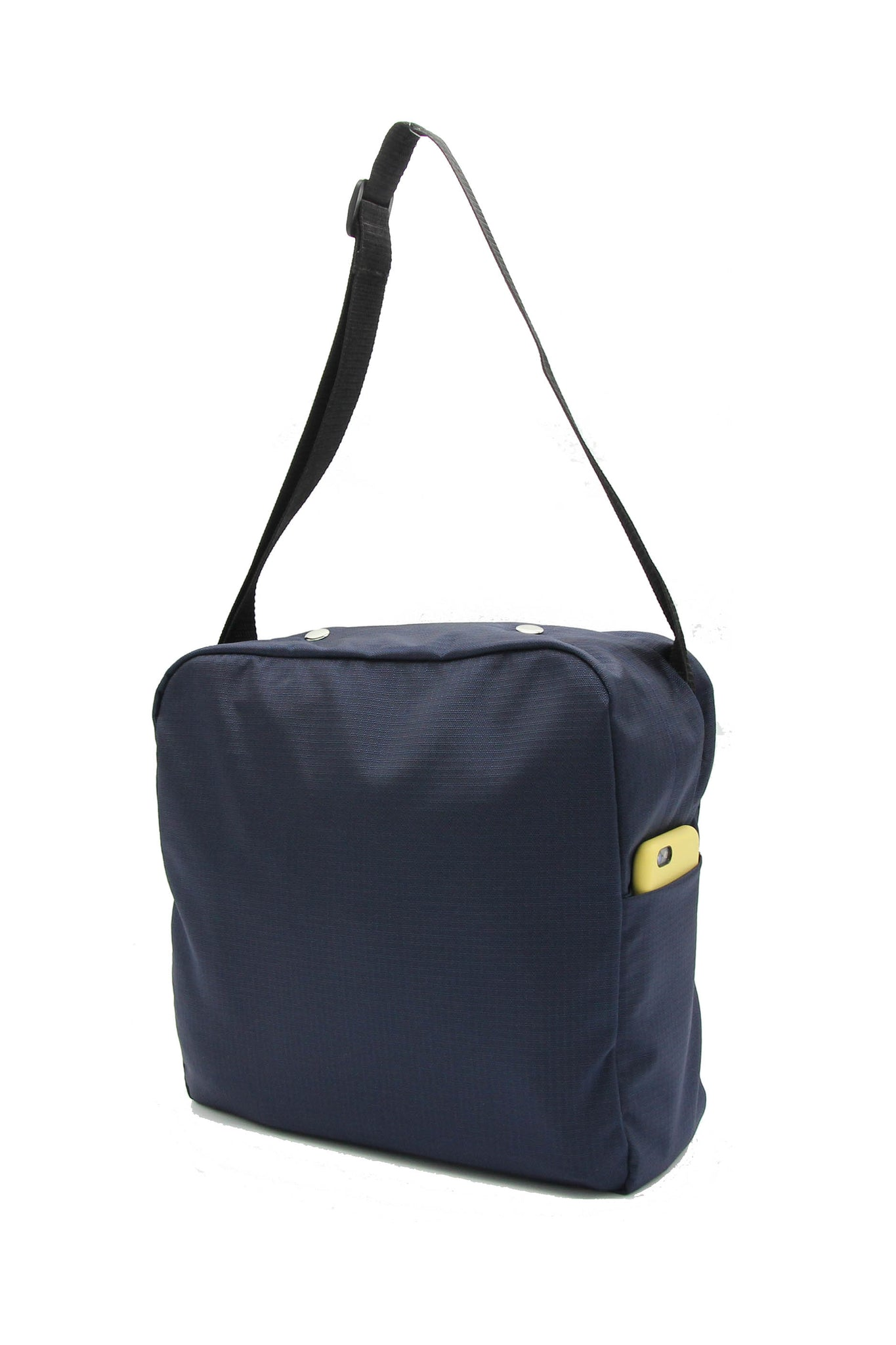 Clear messenger bag with blue nylon sleeve