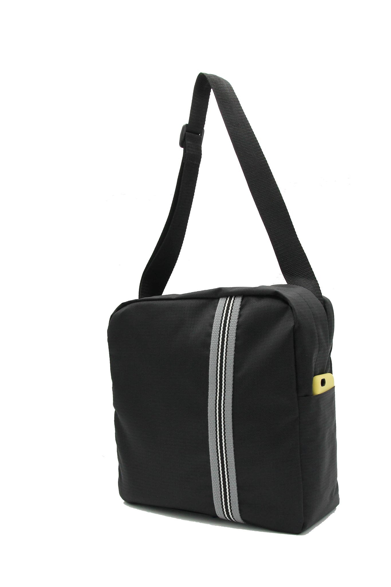 Clear messenger bag with black striped nylon sleeve
