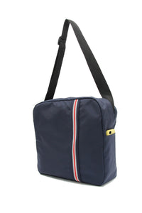 Clear messenger bag with blue striped nylon sleeve