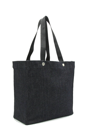 Clear stadium bag with black denim sleeve