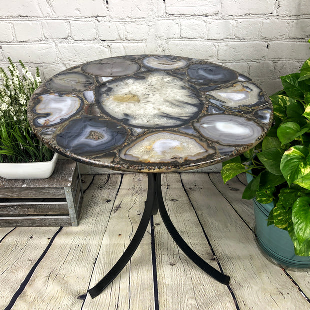 "Handmade Natural Agate Round Table, black metal base, 22"" diameter, 24"" tall (1002-0003)"